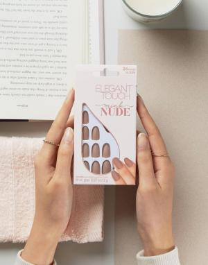 Elegant Touch Светло-бежевые накладные ногти овальной формы с матовым эффектом Elega. Цвет: бежевый