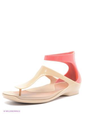 Сандалии CROCS. Цвет: бежевый, розовый