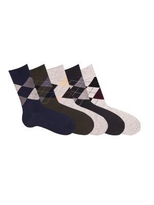 Носки, 5 пар Akos. Цвет: черный, синий, хаки
