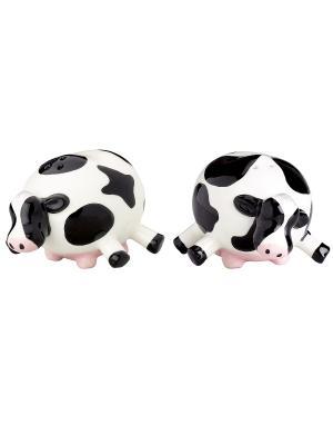 Набор: солонка и перечница Udderly Cows BOSTON. Цвет: черный