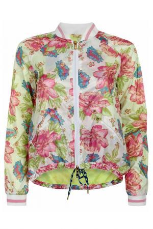 Куртка oodji. Цвет: оптический белый, розовый, цве