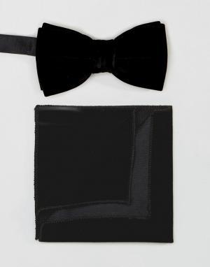 Peter Werth Комплект из галстука-бабочки и платка для нагрудного кармана Wer. Цвет: черный