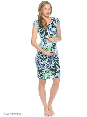Ночная сорочка для беременных и кормления 40 недель. Цвет: бирюзовый