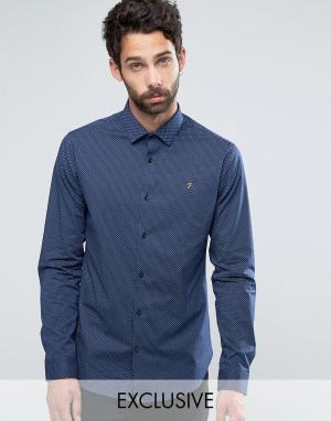Farah Узкая рубашка стретч в горошек. Цвет: темно-синий