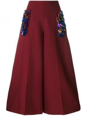 Embellished culottes Delpozo. Цвет: красный