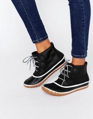 Sorel Кожаные ботильоны на шнуровке Out N About. Цвет: черный