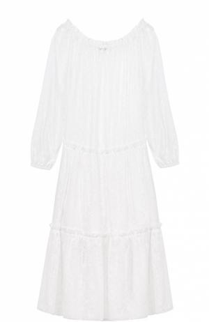 Хлопковое платье свободного кроя с открытыми плечами Poustovit. Цвет: белый
