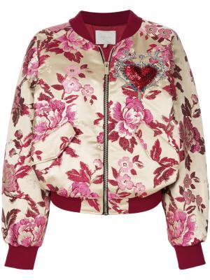 Куртка бомбер с цветочной вышивкой Amen. Цвет: розовый и фиолетовый