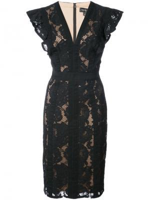 Lace embroidered fitted dress Tadashi Shoji. Цвет: чёрный