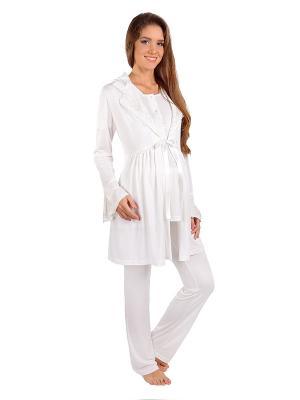 Пижама, Халат MamaLine. Цвет: молочный