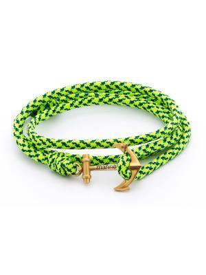Браслет с якорем Green Spec Mariner Brand. Цвет: зеленый, салатовый
