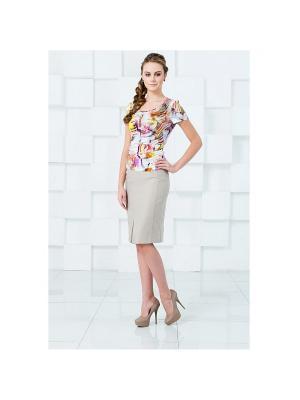 Блузка KEY FASHION. Цвет: сиреневый, желтый, белый