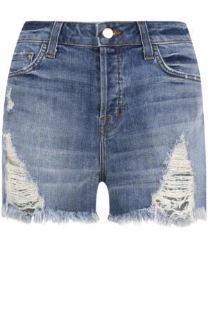 Джинсовые мини-шорты с необработанным краем J Brand. Цвет: синий