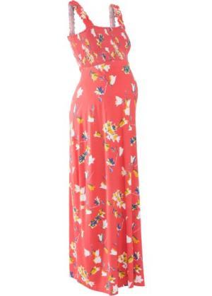 Мода для беременных: макси-платье (коралловый с рисунком) bonprix. Цвет: коралловый с рисунком