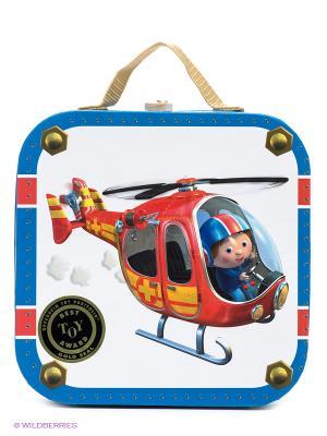 Набор пазлов в квадратном чемоданчике Пилот(4 пазла по 6,9,12,16 деталей) Janod. Цвет: синий