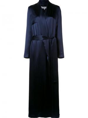 Shawl collar long coat Galvan. Цвет: синий