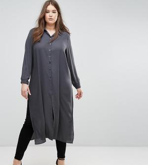 Elvi Длинная рубашка темно-серого цвета. Цвет: серый