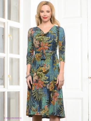 Платье Capriz. Цвет: желтый, бирюзовый, зеленый