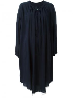 Платье с V-образным вырезом и длинными рукавами Raquel Allegra. Цвет: синий