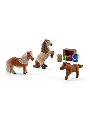 Набор Семья Шотландского пони, мини SCHLEICH. Цвет: светло-коричневый, бежевый, кремовый
