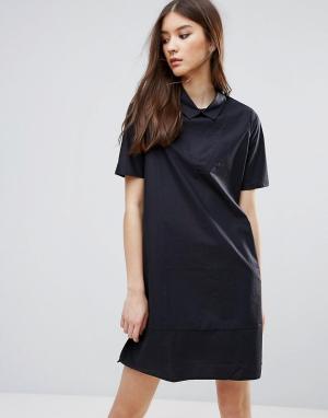 ADPT Вельветовое платье‑рубашка. Цвет: темно-синий