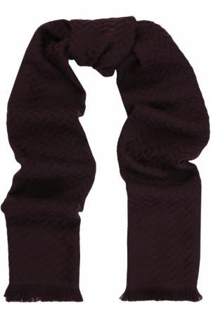 Шерстяной шарф с необработанным краем Canali. Цвет: бордовый