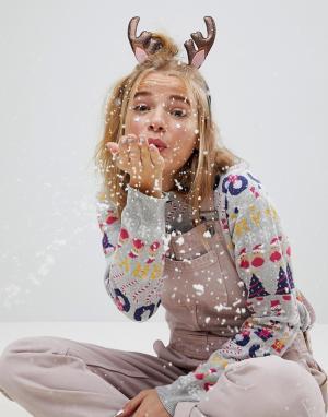 ASOS Новогодний ободок для волос. Цвет: мульти