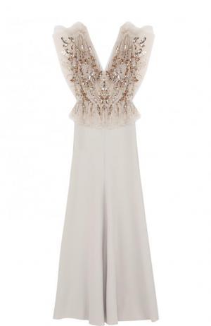 Приталенное платье-макси с декорированным лифом Jenny Packham. Цвет: бежевый