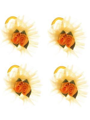 Бантики для волос на длинных резинках с розочками, набор 2 по шт, желтые Радужки. Цвет: желтый