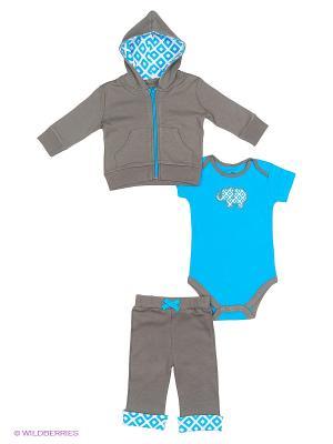 Комплект жакет, боди к/р, штанишки Yoga Sprout. Цвет: серый, голубой