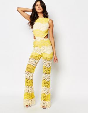 Foxiedox Кружевной комбинезон со вставками Mona. Цвет: желтый