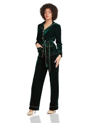 Бархатный костюм в пижамном стиле Nothing but Love. Цвет: темно-зеленый
