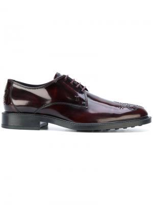 Туфли со шнуровкой и вышивкой на носке Tods Tod's. Цвет: розовый и фиолетовый