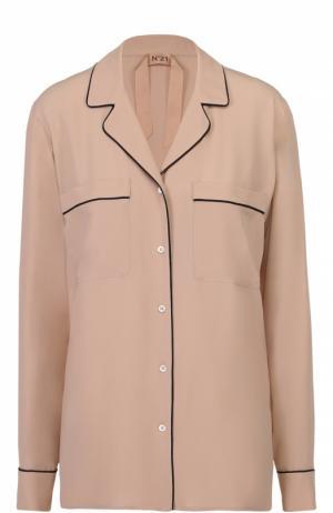 Блуза в пижамном стиле с контрастной отделкой No. 21. Цвет: бежевый