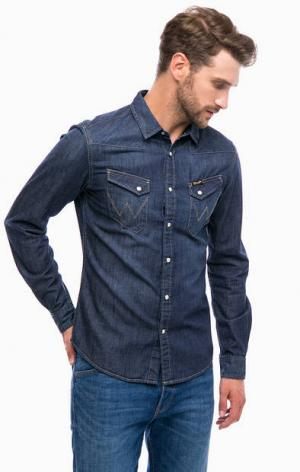 Синяя джинсовая рубашка с двумя карманами Wrangler. Цвет: синий