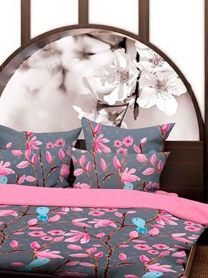 Комплект постельного белья Магнолия Волшебная ночь. Цвет: серый, коралловый