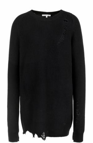 Пуловер из смеси шерсти и кашемира с круглым вырезом Helmut Lang. Цвет: черный