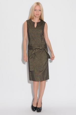 Платье делового сила с поясом Modika. Цвет: горчичный