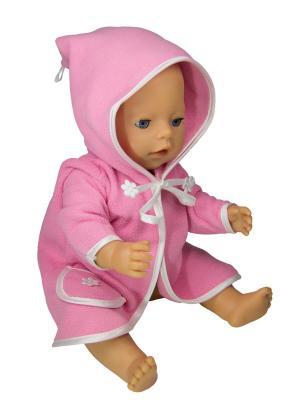 Халат из флиса для пупса 43 см Модница.. Цвет: розовый, белый