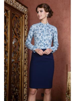 Блузка KEY FASHION. Цвет: голубой, синий