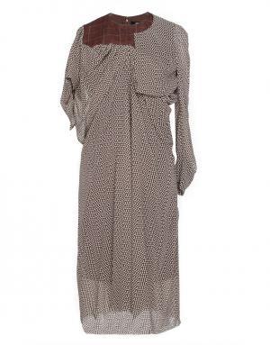 Платье с асимметричными рукавами Junya Watanabe. Цвет: коричневый