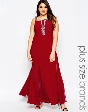 Forever Unique Платье макси с глубоким вырезом и отделкой. Цвет: красный