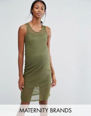 Bluebelle Maternity Облегающее сетчатое платье для дома беременных. Цвет: зеленый