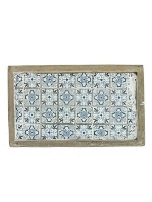 Тарелка декоративная RICH LINE Home Decor. Цвет: серый, голубой