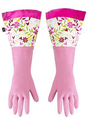 Перчатки для уборки FLORAL* VIGAR. Цвет: розовый (розовый, цветы)