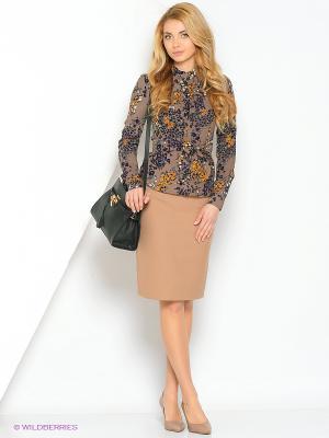 Блуза MARY MEA. Цвет: светло-коричневый, фиолетовый