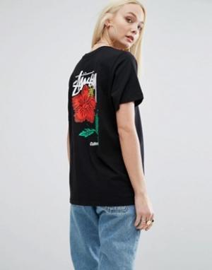 Stussy Oversize-футболка с логотипом и розой на спине. Цвет: черный