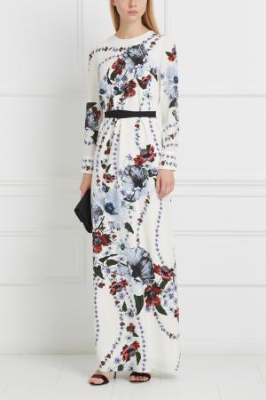Шелковое платье Agnes Erdem. Цвет: белый, разноцветный