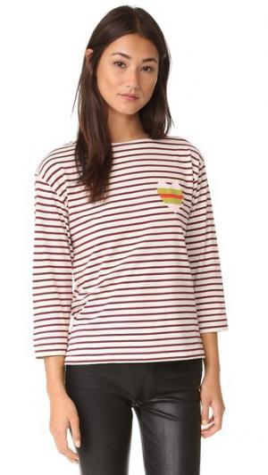 Полосатая футболка Sailor с изображением сердечка Chinti and Parker. Цвет: кремовый/бордовый
