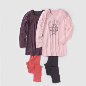 2 пижамы-ночная рубашка и леггинсы 10-16 лет R édition. Цвет: розовый/ серый